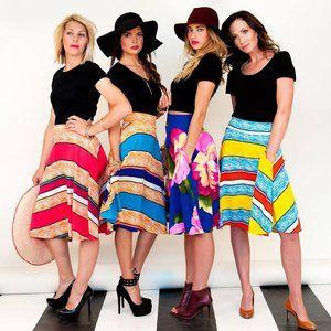 Stripe Midi Skirt With Pockets